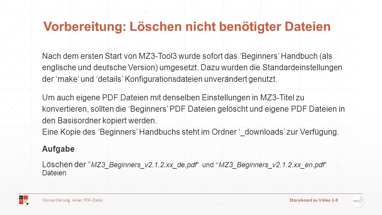 Vorbereitung: Löschen nicht benötigter Dateien Nach dem ersten Start von MZ3-Tool3 wurde sofort das Beginners Handbuch (als englische und deutsche Ver