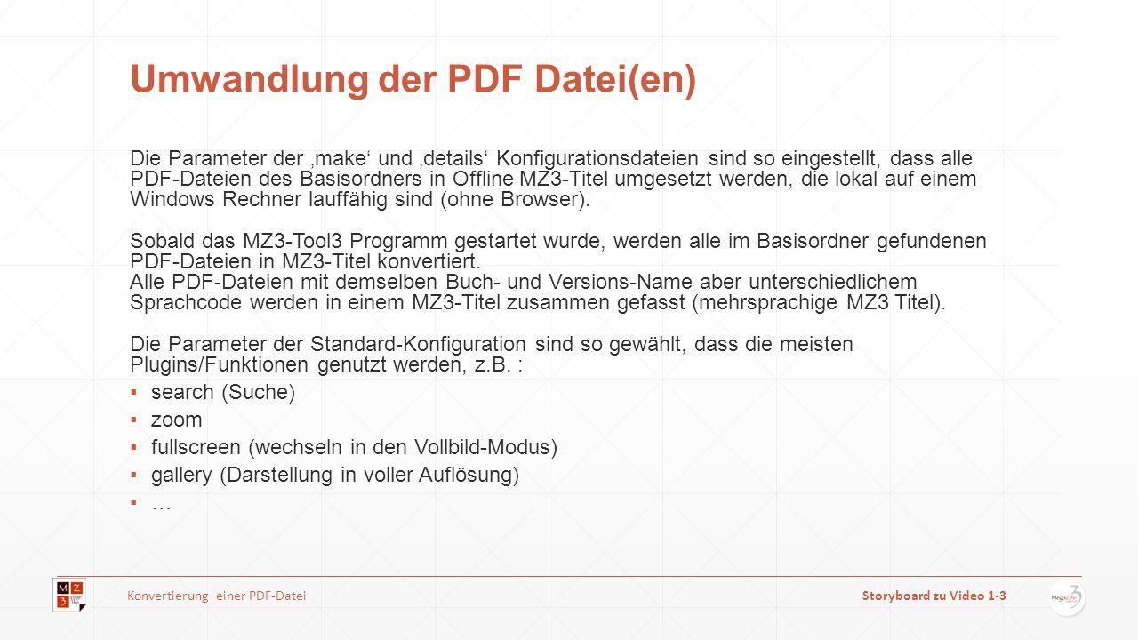 Umwandlung der PDF Datei(en) Die Parameter der make und details Konfigurationsdateien sind so eingestellt, dass alle PDF-Dateien des Basisordners in O