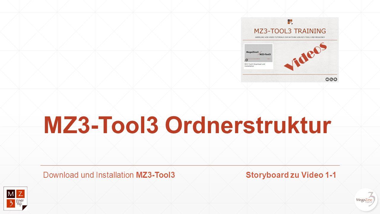 Laden des MZ3-Tool3 Pakets Download-Link: http://www.megazine3.de/demo_packages.htmlhttp://www.megazine3.de/demo_packages.html Inhalt der zip-Datei: mz3_tool3.exe (eine einzige Datei als Windows Programm) Installierte Daten: Das Programm mz3_tool3.exe legt u.a.