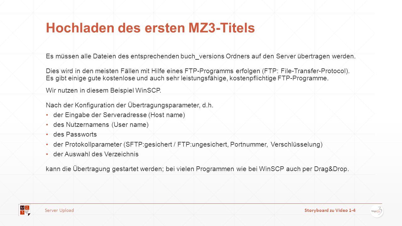 Hochladen des ersten MZ3-Titels Es müssen alle Dateien des entsprechenden buch_versions Ordners auf den Server übertragen werden. Dies wird in den mei