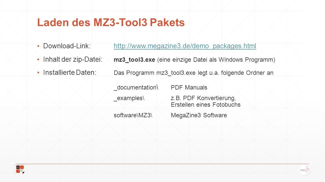 Vorbereitung: Löschen nicht benötigter Dateien Nach dem ersten Start von MZ3-Tool3 wurde sofort das Beginners Handbuch (als englische und deutsche Version) umgesetzt.