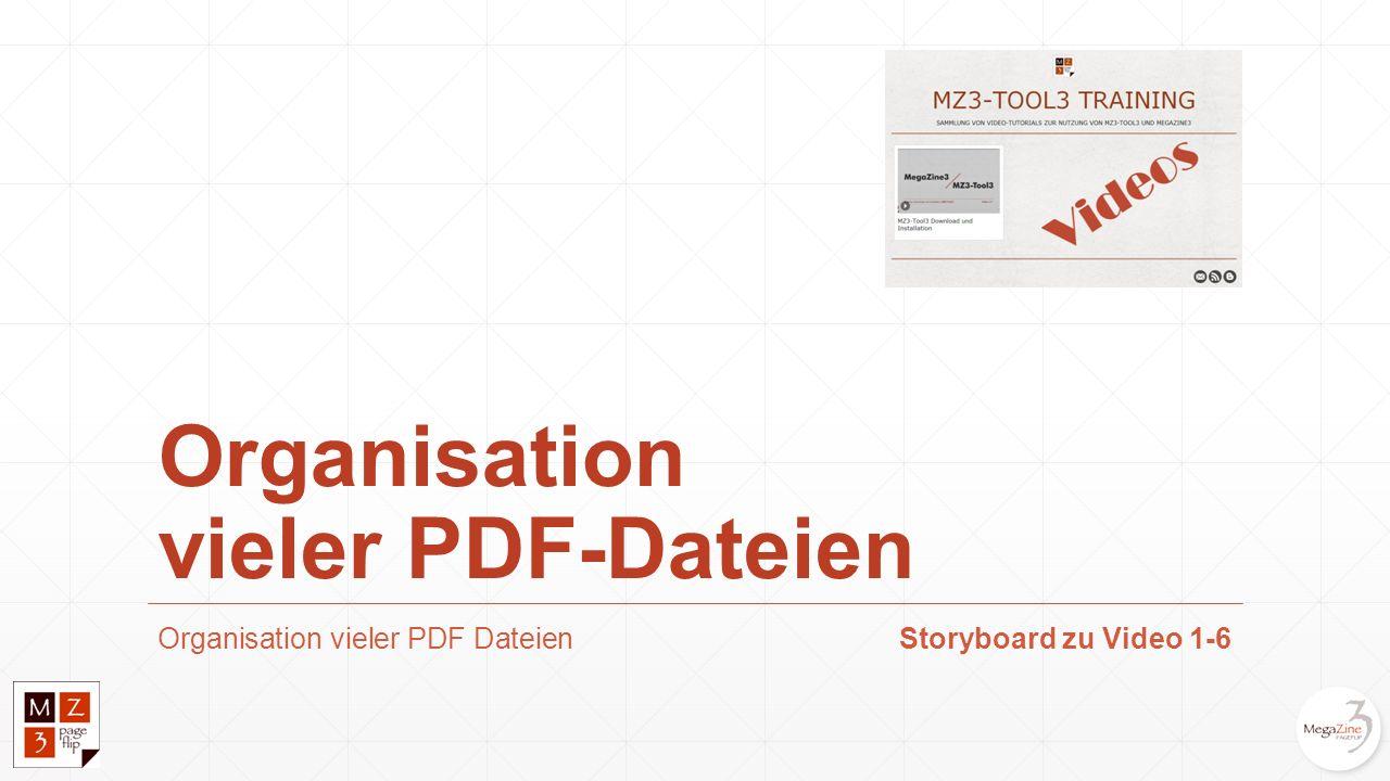 Organisation vieler PDF DateienStoryboard zu Video 1-6 Organisation vieler PDF-Dateien