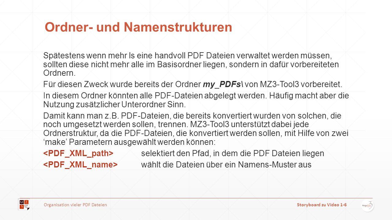 Ordner- und Namenstrukturen Spätestens wenn mehr ls eine handvoll PDF Dateien verwaltet werden müssen, sollten diese nicht mehr alle im Basisordner liegen, sondern in dafür vorbereiteten Ordnern.