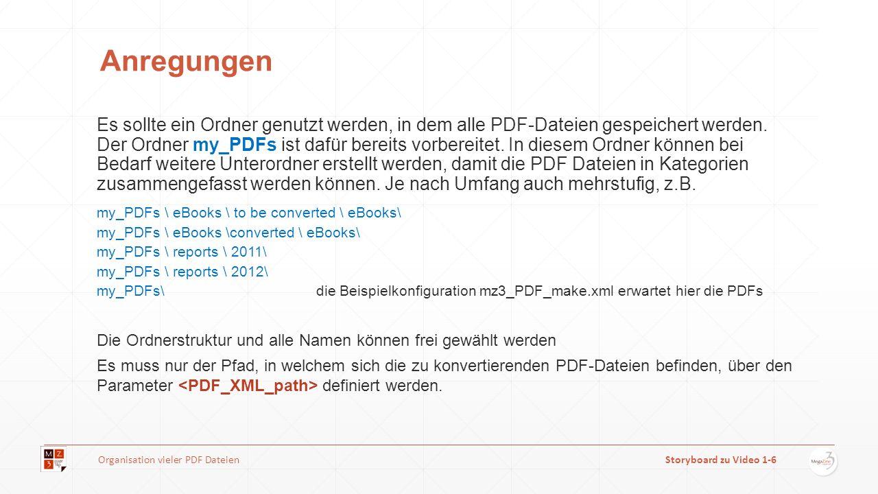 Anregungen Es sollte ein Ordner genutzt werden, in dem alle PDF-Dateien gespeichert werden. Der Ordner my_PDFs ist dafür bereits vorbereitet. In diese