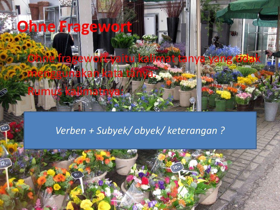 Ohne Fragewort Ohne fragewort yaitu kalimat tanya yang tidak menggunakan kata tanya.