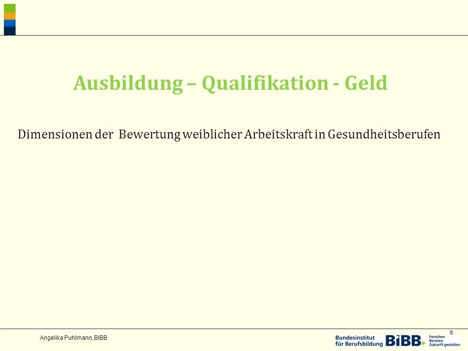 ® Angelika Puhlmann, BIBB Ausbildung – Qualifikation - Geld Dimensionen der Bewertung weiblicher Arbeitskraft in Gesundheitsberufen