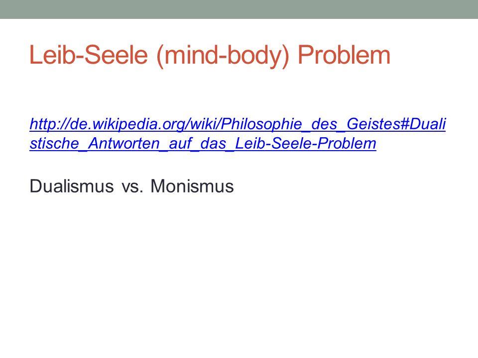 Leib-Seele (mind-body) Problem http://de.wikipedia.org/wiki/Philosophie_des_Geistes#Duali stische_Antworten_auf_das_Leib-Seele-Problem Dualismus vs. M