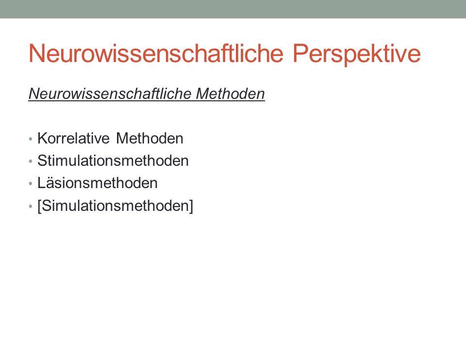 Neurowissenschaftliche Perspektive Neurowissenschaftliche Methoden Korrelative Methoden Stimulationsmethoden Läsionsmethoden [Simulationsmethoden]