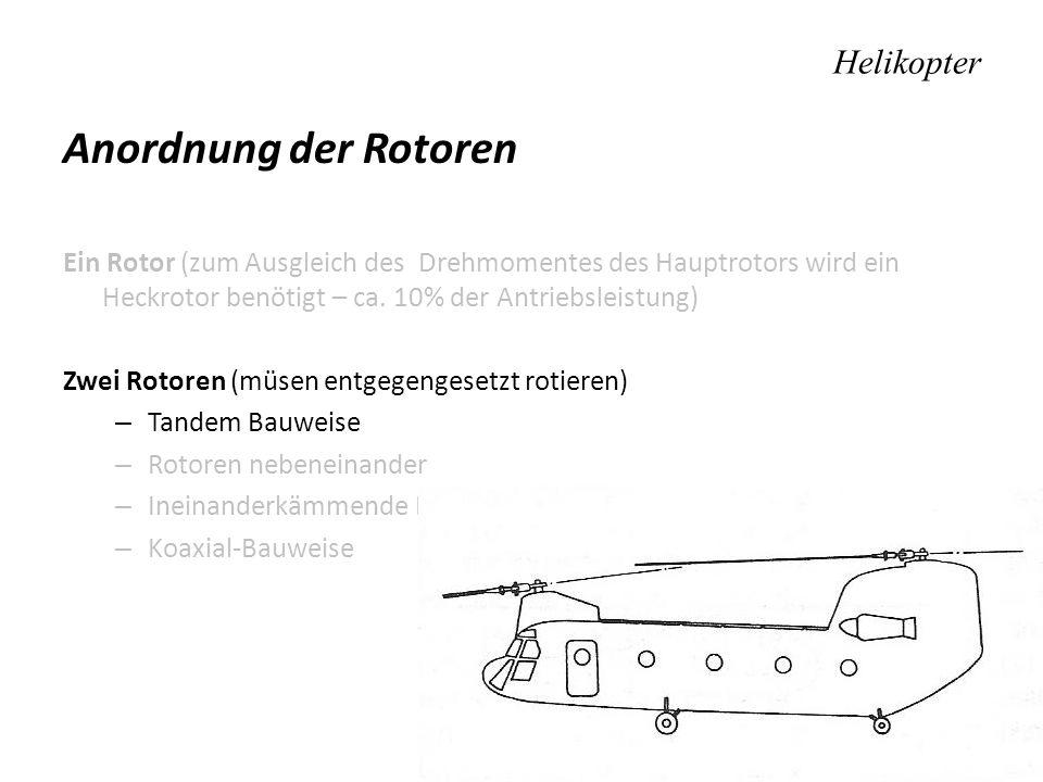Helikopter Anordnung der Rotoren Ein Rotor (zum Ausgleich des Drehmomentes des Hauptrotors wird ein Heckrotor benötigt – ca. 10% der Antriebsleistung)