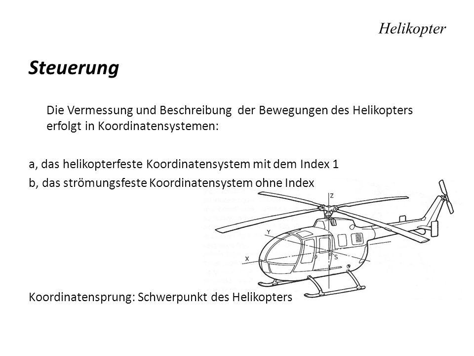 Helikopter Steuerung Die Vermessung und Beschreibung der Bewegungen des Helikopters erfolgt in Koordinatensystemen: a, das helikopterfeste Koordinaten