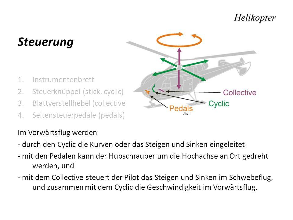 Helikopter Steuerung 1.Instrumentenbrett 2.Steuerknüppel (stick, cyclic) 3.Blattverstellhebel (collective) 4.Seitensteuerpedale (pedals) Im Vorwärtsfl