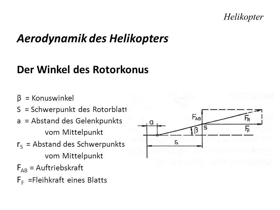 Helikopter Aerodynamik des Helikopters Der Winkel des Rotorkonus β = Konuswinkel S = Schwerpunkt des Rotorblatts a = Abstand des Gelenkpunkts vom Mitt