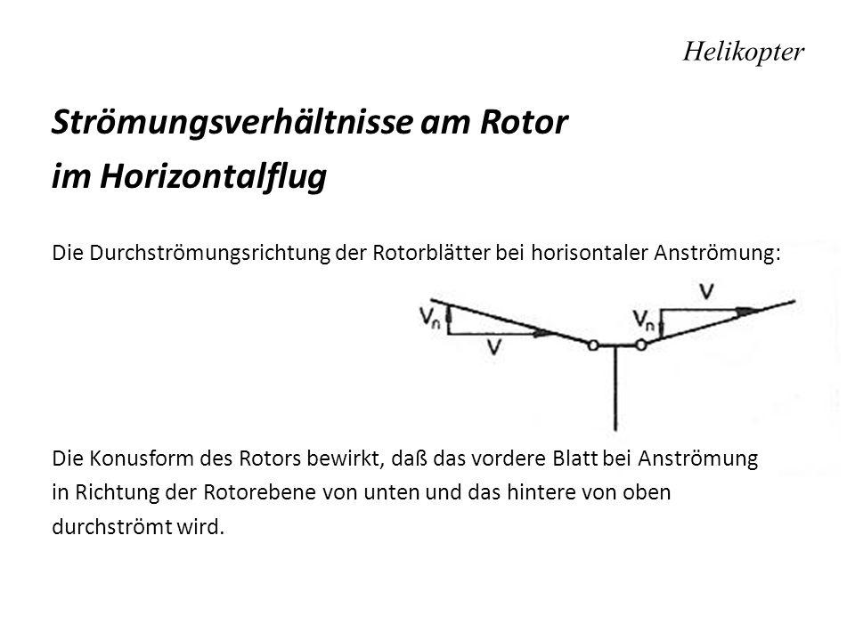 Helikopter Strömungsverhältnisse am Rotor im Horizontalflug Die Durchströmungsrichtung der Rotorblätter bei horisontaler Anströmung: Die Konusform des