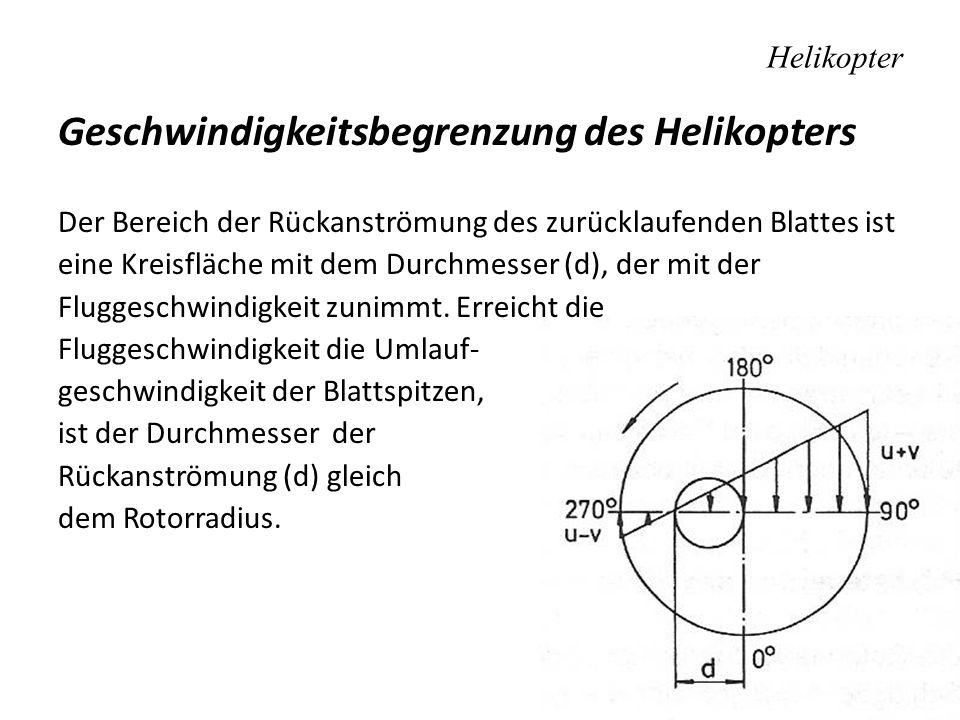 Helikopter Geschwindigkeitsbegrenzung des Helikopters Der Bereich der Rückanströmung des zurücklaufenden Blattes ist eine Kreisfläche mit dem Durchmes