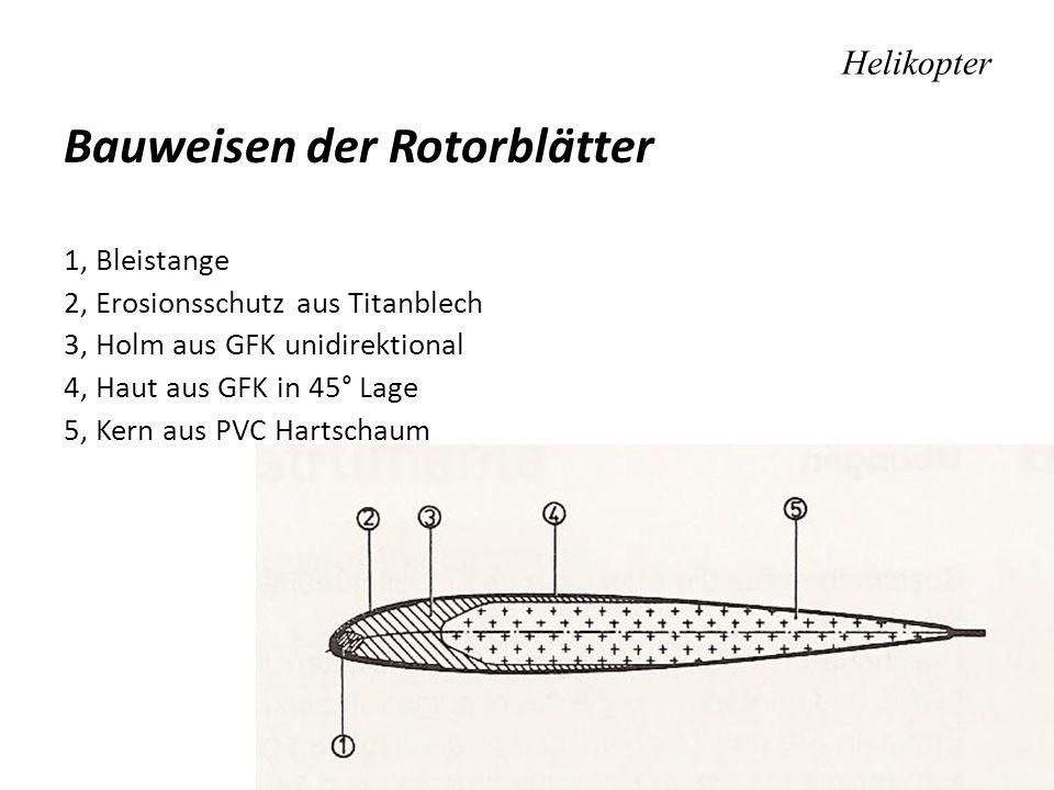 Helikopter Bauweisen der Rotorblätter 1, Bleistange 2, Erosionsschutz aus Titanblech 3, Holm aus GFK unidirektional 4, Haut aus GFK in 45° Lage 5, Ker