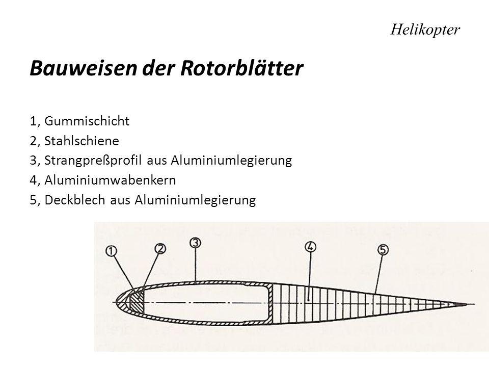 Helikopter Bauweisen der Rotorblätter 1, Gummischicht 2, Stahlschiene 3, Strangpreßprofil aus Aluminiumlegierung 4, Aluminiumwabenkern 5, Deckblech au