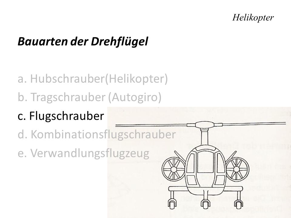 Helikopter Unterschied zwischen Hubschrauber- und Tragschrauberzustand Hubschrauberzustand: Durchströmung von oben nach unten Tragschrauberzustand: Durchströmung von unten nach oben