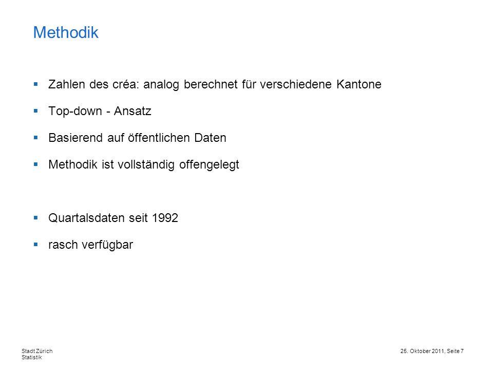 25. Oktober 2011, Seite 7Stadt Zürich Statistik Zahlen des créa: analog berechnet für verschiedene Kantone Top-down - Ansatz Basierend auf öffentliche