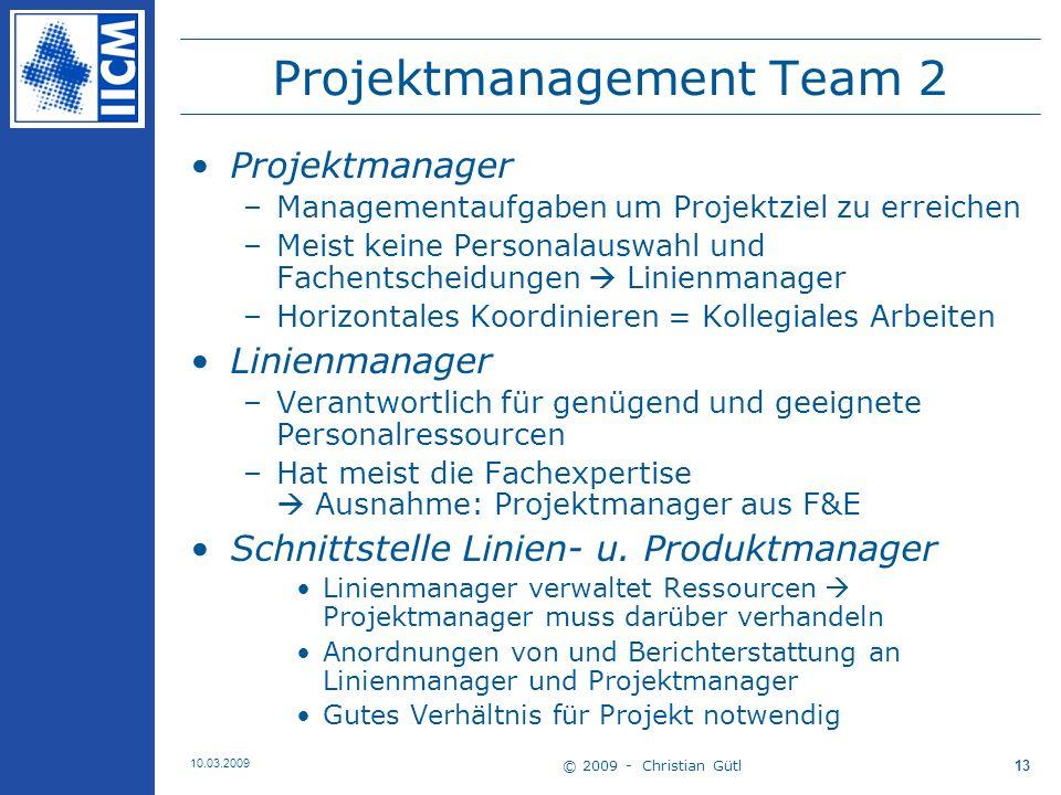 © 2009 - Christian Gütl 10.03.2009 14 Projektmanagement Team 3 Projekt Sponsor oder Pate –(einer) der wichtigste(n) Beteiligten des Projektes –Sorgt für Unterstützung des Projekts durch die Unternehmensleitung (lenkend u.