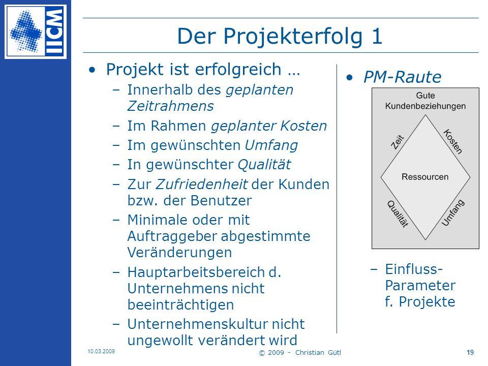 © 2009 - Christian Gütl 10.03.2009 20 Der Projekterfolg 2 Projekterfolg [Kapur 2005] –Erfolg: zufriedenstellendes Ergebnis –Process: bestimmte Methode der Abwicklung z.B.