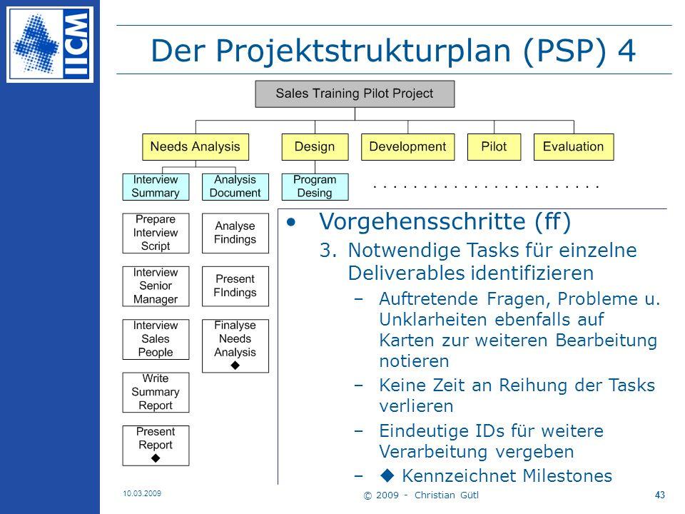 © 2009 - Christian Gütl 10.03.2009 44 Der Projektstrukturplan (PSP) 5 Anmerkungen –Detaillierungsgrad der Tasks Versteht MA den Task u.