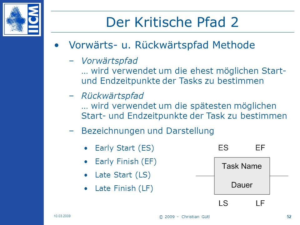 © 2009 - Christian Gütl 10.03.2009 53 Der Kritische Pfad 3 Vorwärtspfad Berechnung –Early Start (ES): früheste Zeitpunkt für Task-Start bezogen auf Bedingungen mit Vorgängertask(s) z.B.