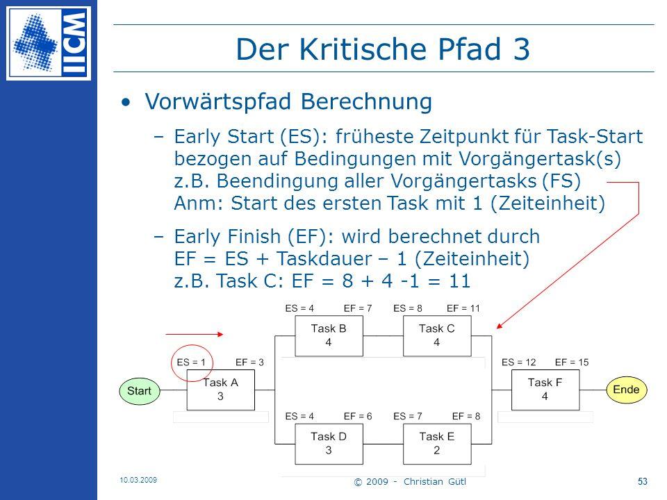 © 2009 - Christian Gütl 10.03.2009 54 Der Kritische Pfad 3 Rückwärtspfad Berechnung –Late Finish (LF): spätester Zeitpunkt für Taskende um Gesamtprojektzeitpunkt nicht zu verzögern bezogen auf Startbedingung d.