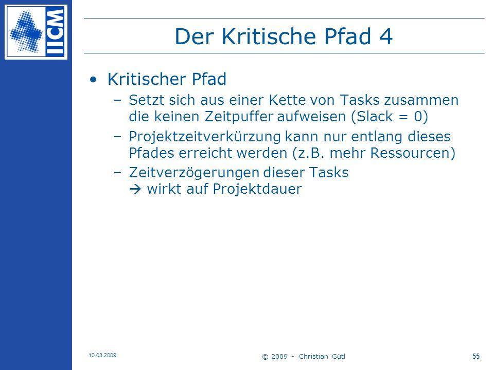 © 2009 - Christian Gütl 10.03.2009 56 Der Kritische Pfad 5 Zeitpuffer Berechnung –Task Float o.