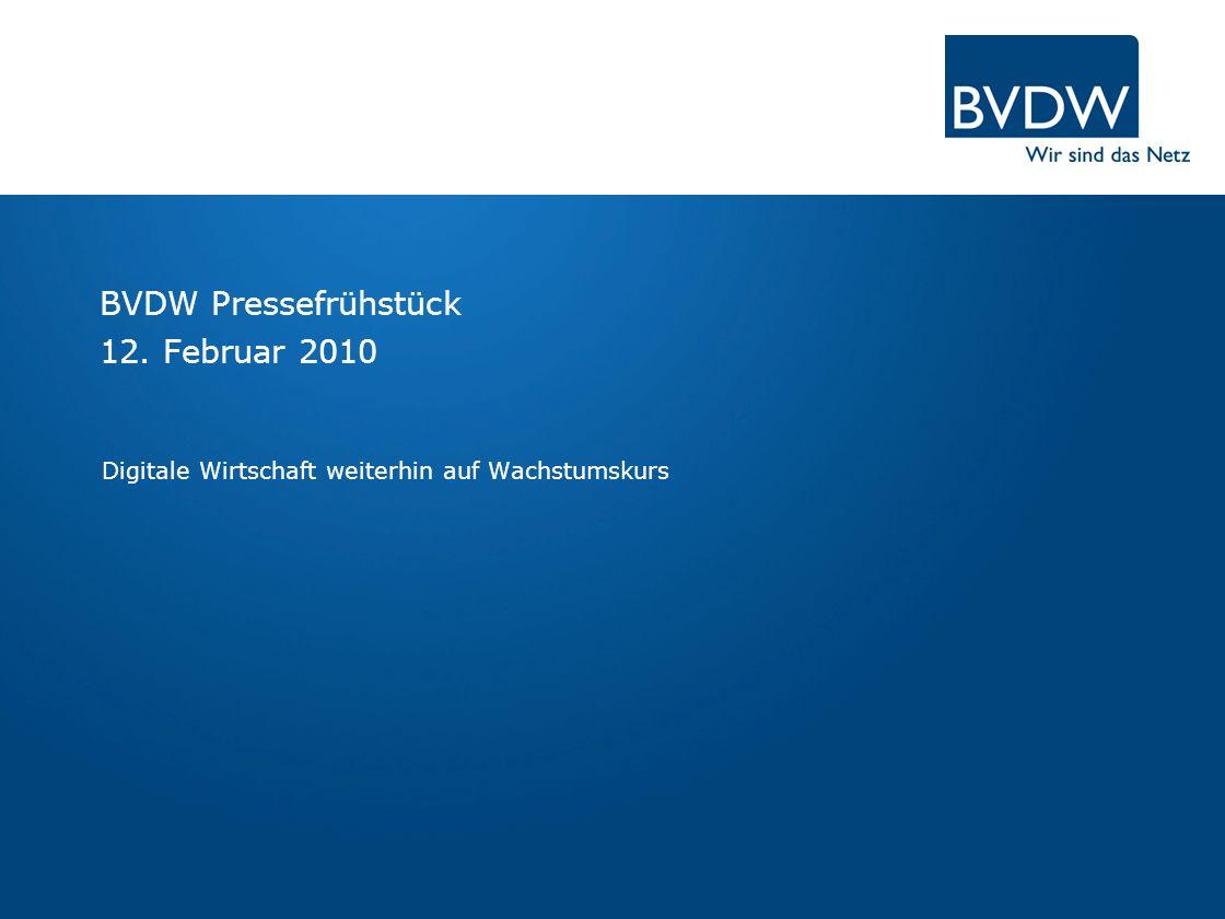 BVDW treibt die digitale Wirtschaft voran BVDW Rückblick 2009 Trends der digitalen Wirtschaft 2010 TV/SEM-Werbewirkungsstudie Mobile Kampagnenzählung 2009 Social Media Ausblick 2010 Online Games-Studie Online-Werbemarkt 2009 OVK Prognose 2010 OVK Wachstumstreiber 2010 Seite 2 | 12.02.2010 | BVDW Pressefrühstück in Frankfurt am Main Agenda