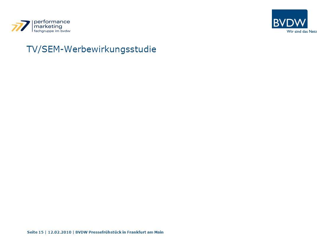 TV/SEM-Werbewirkungsstudie Seite 15 | 12.02.2010 | BVDW Pressefrühstück in Frankfurt am Main