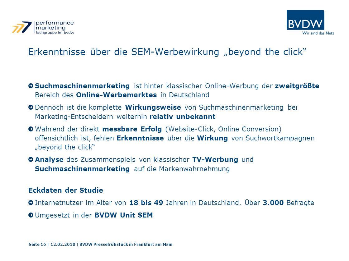 Erkenntnisse über die SEM-Werbewirkung beyond the click Suchmaschinenmarketing ist hinter klassischer Online-Werbung der zweitgrößte Bereich des Onlin
