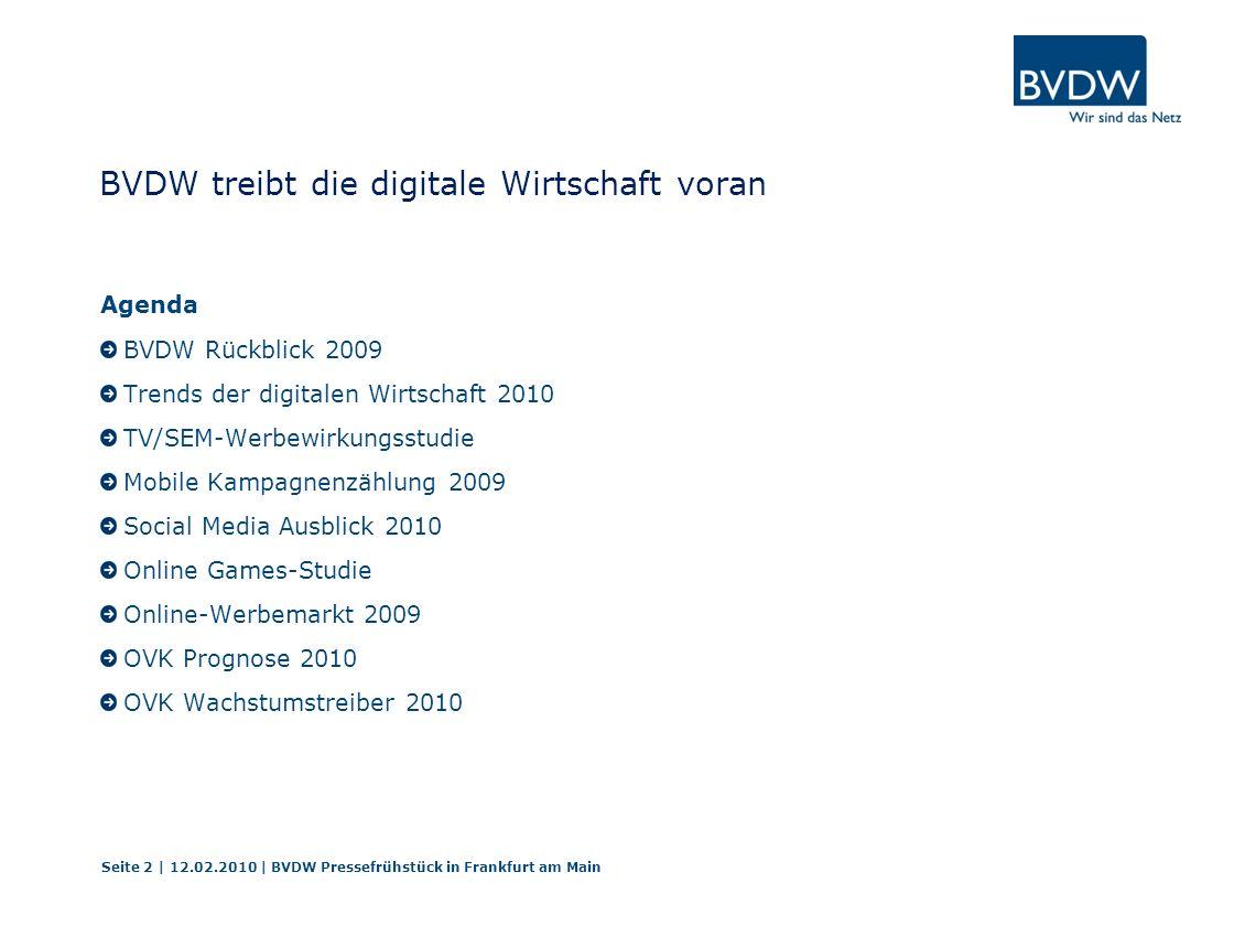 BVDW treibt die digitale Wirtschaft voran BVDW Rückblick 2009 Trends der digitalen Wirtschaft 2010 TV/SEM-Werbewirkungsstudie Mobile Kampagnenzählung