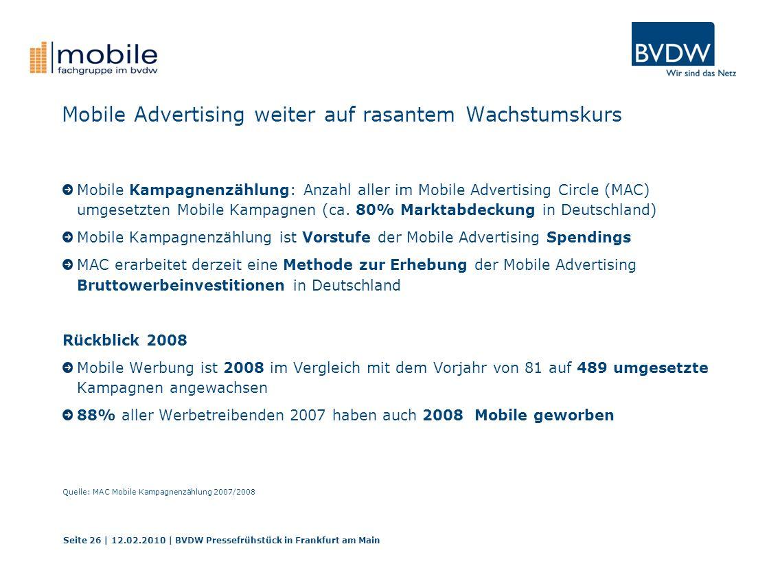 Mobile Advertising weiter auf rasantem Wachstumskurs Mobile Kampagnenzählung: Anzahl aller im Mobile Advertising Circle (MAC) umgesetzten Mobile Kampa