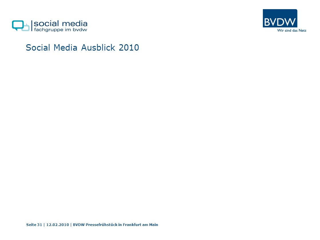 Social Media Ausblick 2010 Seite 31 | 12.02.2010 | BVDW Pressefrühstück in Frankfurt am Main