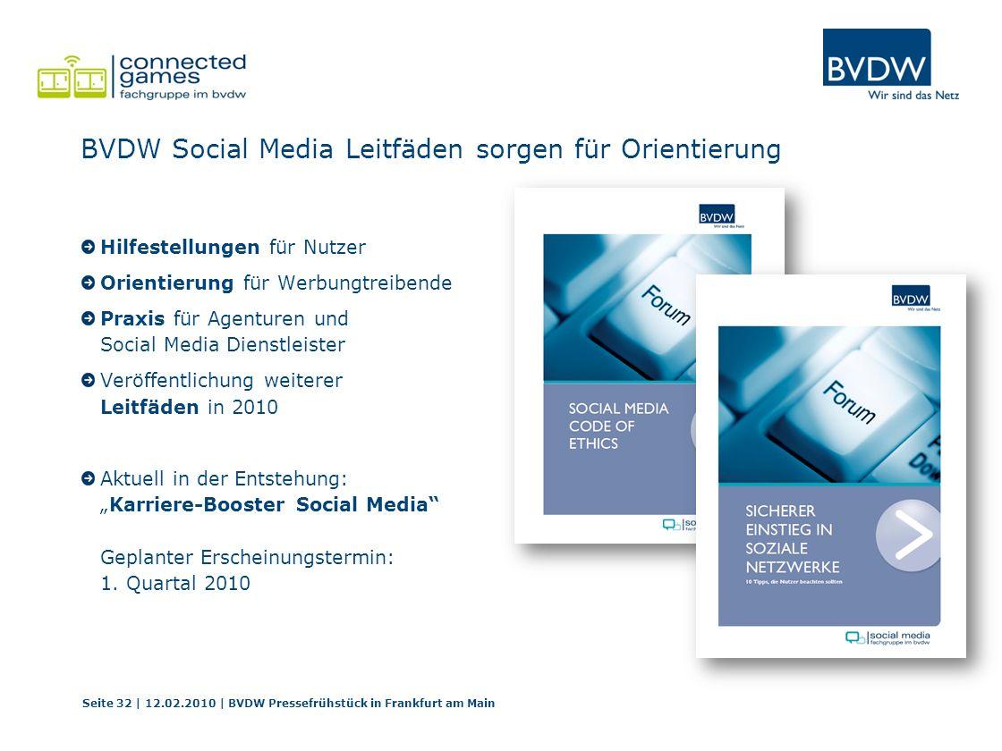 BVDW Social Media Leitfäden sorgen für Orientierung Hilfestellungen für Nutzer Orientierung für Werbungtreibende Praxis für Agenturen und Social Media