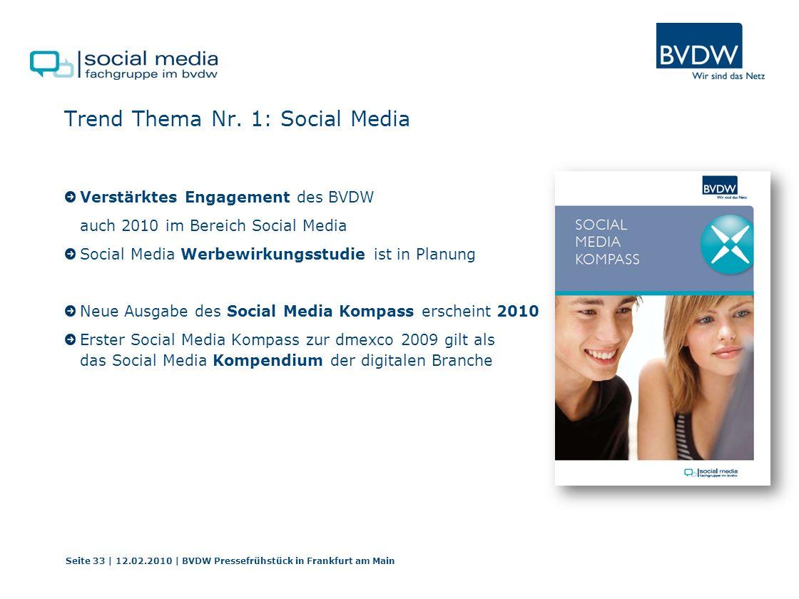 Trend Thema Nr. 1: Social Media Verstärktes Engagement des BVDW auch 2010 im Bereich Social Media Social Media Werbewirkungsstudie ist in Planung Neue