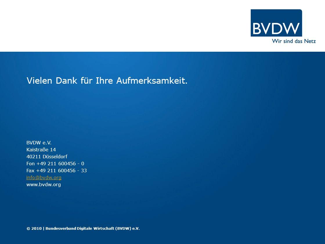 BVDW e.V. Kaistraße 14 40211 Düsseldorf Fon +49 211 600456 - 0 Fax +49 211 600456 - 33 info@bvdw.org www.bvdw.org info@bvdw.org Vielen Dank für Ihre A