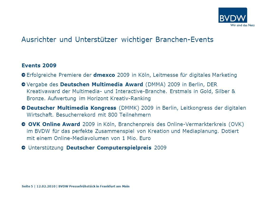 Ausrichter und Unterstützer wichtiger Branchen-Events Events 2009 Erfolgreiche Premiere der dmexco 2009 in Köln, Leitmesse für digitales Marketing Vergabe des Deutschen Multimedia Award (DMMA) 2009 in Berlin, DER Kreativaward der Multimedia- und Interactive-Branche.