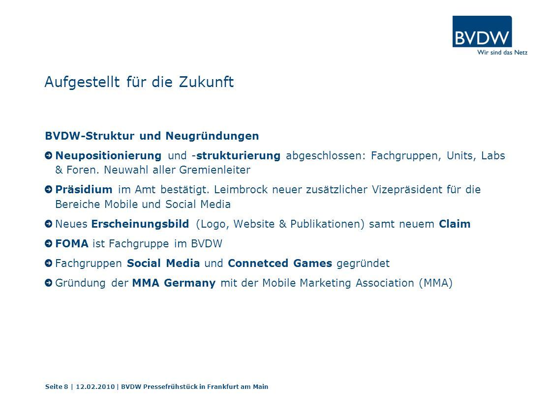 Im zweiten Quartal 2009 hat Mobile deutlich zugelegt Seite 29 | 12.02.2010 | BVDW Pressefrühstück in Frankfurt am Main Umgesetzte Mobile-Kampagnen 1.