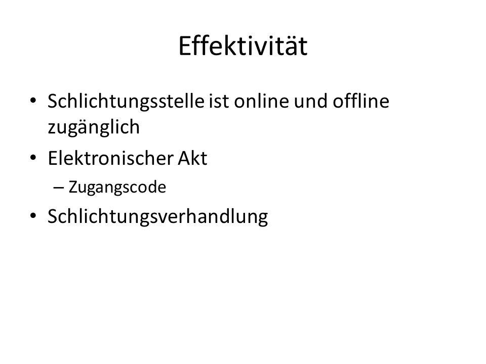 Effektivität Schlichtungsstelle ist online und offline zugänglich Elektronischer Akt – Zugangscode Schlichtungsverhandlung