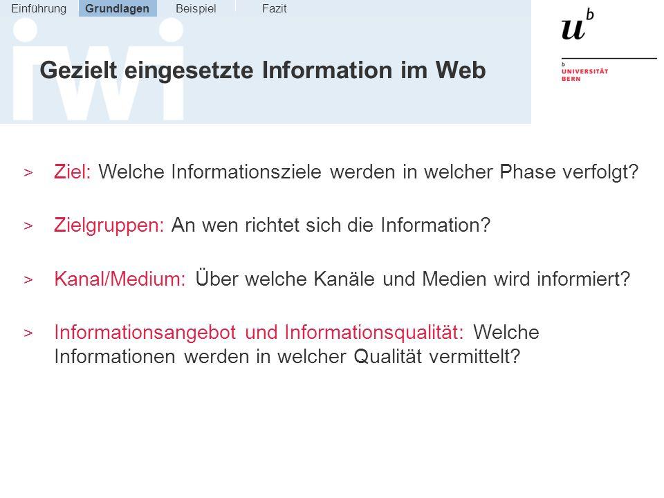 Gezielt eingesetzte Information im Web > Ziel: Welche Informationsziele werden in welcher Phase verfolgt? > Zielgruppen: An wen richtet sich die Infor