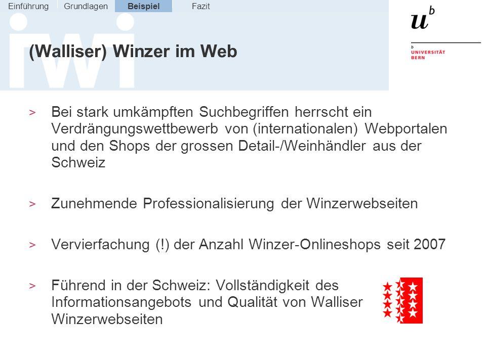 (Walliser) Winzer im Web > Bei stark umkämpften Suchbegriffen herrscht ein Verdrängungswettbewerb von (internationalen) Webportalen und den Shops der