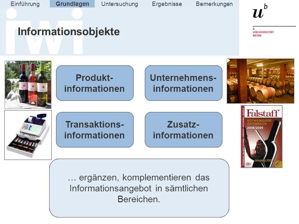 Informationsobjekte GrundlagenUntersuchungErgebnisseEinführung Bemerkungen Produkt- informationen Zusatz- informationen Transaktions- informationen Un