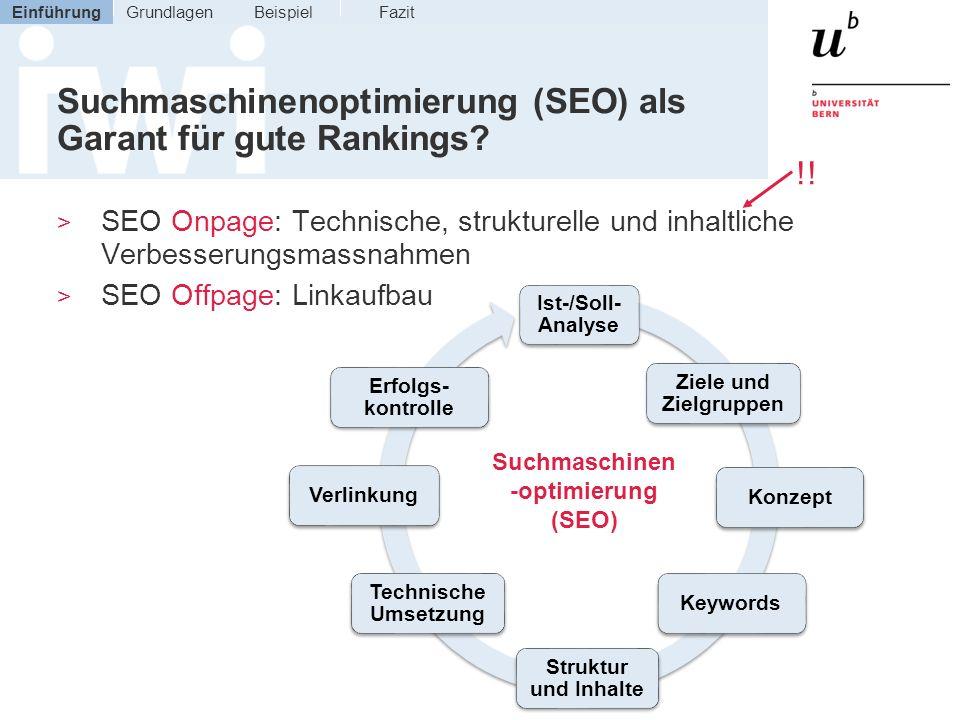 Suchmaschinenoptimierung (SEO) als Garant für gute Rankings? > SEO Onpage: Technische, strukturelle und inhaltliche Verbesserungsmassnahmen > SEO Offp