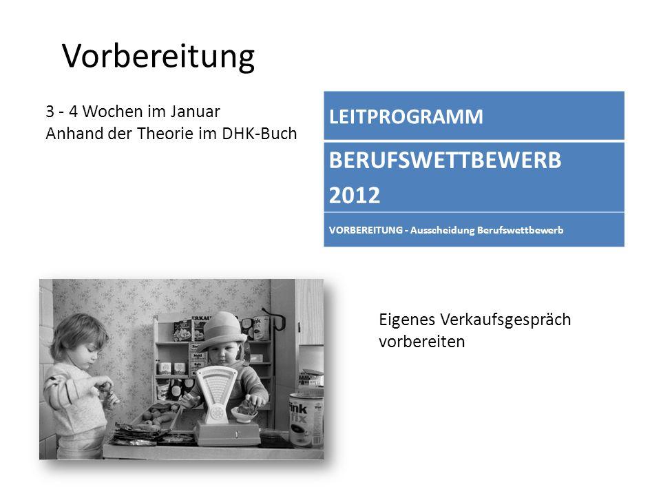 Vorbereitung 3 - 4 Wochen im Januar Anhand der Theorie im DHK-Buch LEITPROGRAMM BERUFSWETTBEWERB 2012 VORBEREITUNG - Ausscheidung Berufswettbewerb Eig