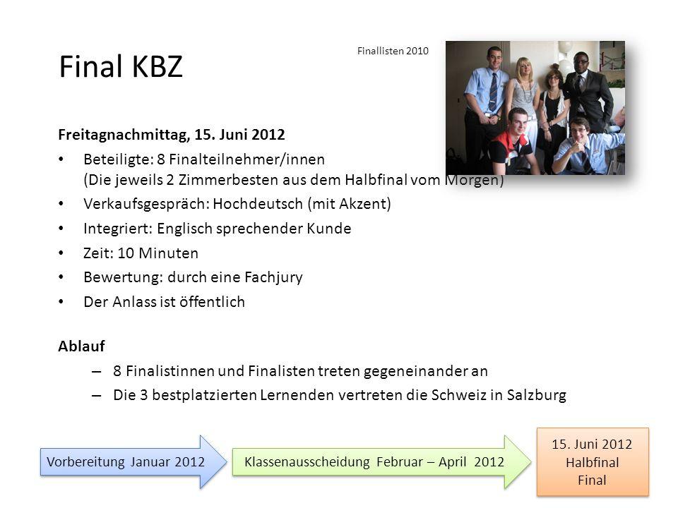 Final KBZ Freitagnachmittag, 15. Juni 2012 Beteiligte: 8 Finalteilnehmer/innen (Die jeweils 2 Zimmerbesten aus dem Halbfinal vom Morgen) Verkaufsgespr