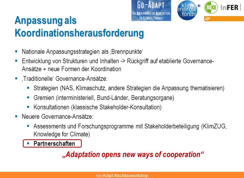 Go-Adapt Abschlussworkshop Anpassung als Koordinationsherausforderung Nationale Anpassungsstrategien als Brennpunkte Entwicklung von Strukturen und In