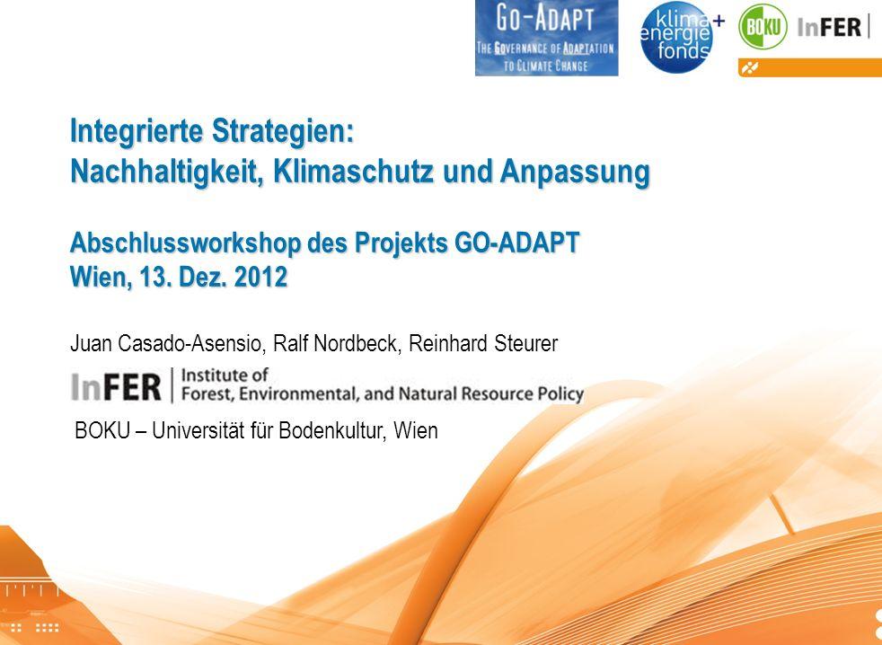 Go-Adapt Abschlussworkshop Integrierte Strategien: Nachhaltigkeit, Klimaschutz und Anpassung Abschlussworkshop des Projekts GO-ADAPT Wien, 13. Dez. 20
