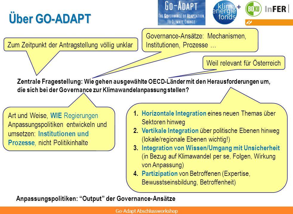 Go-Adapt Abschlussworkshop Über GO-ADAPT Zentrale Fragestellung: Wie gehen ausgewählte OECD-Länder mit den Herausforderungen um, die sich bei der Gove