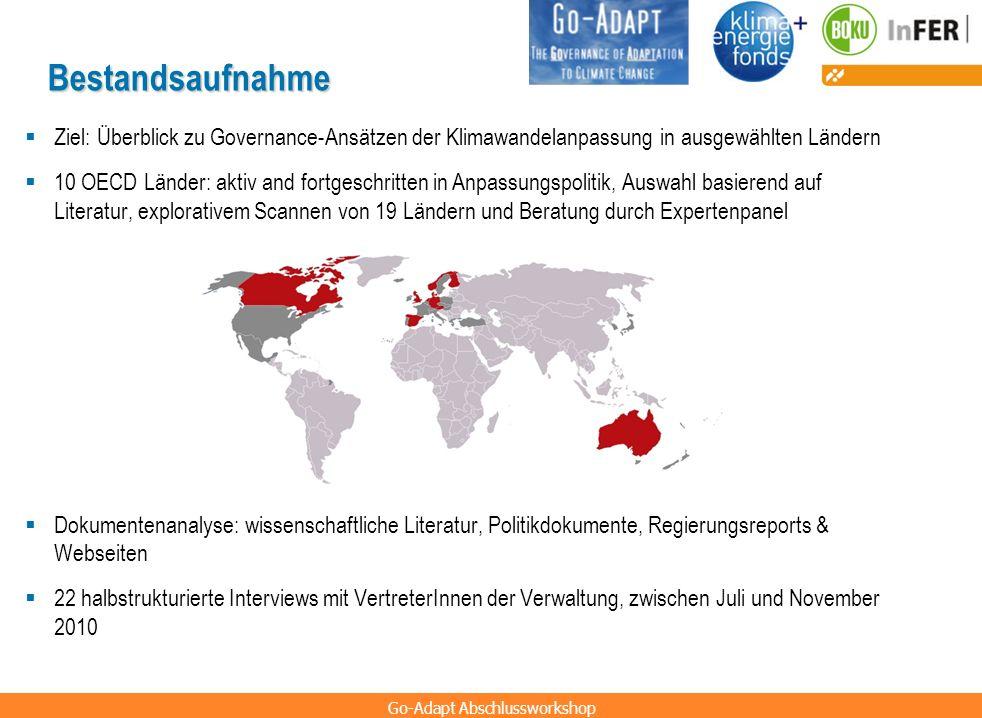 Go-Adapt Abschlussworkshop Bestandsaufnahme Ziel: Überblick zu Governance-Ansätzen der Klimawandelanpassung in ausgewählten Ländern 10 OECD Länder: ak